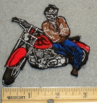 1347 N - Skullman Leaning on Bike - Embroidery Patch