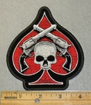 2040 G - Spade With Skull Face And Two Pistols - Embroidery Patch