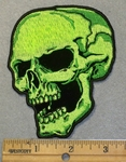 2013 G -  Neon Green Skull Face Left Side - Embroidery Patch