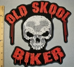 2028 G - Old Skool Biker With Skull Face - Large Back Patch - Embroidery Patch