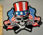 2048 G - Uncle Sam Skull Face With American Flag Top Hat - Large Back Patch - Embroidery Patch