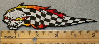 1474 N - Skull Head With Flaming Checker Flag - Embroidery Patch