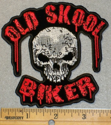 2029 G - Old Skool Biker WIth Skull Face - Embroidery Patch