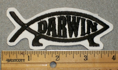 1447 L - Darwin Fish Patch - Black Lettering - Embroidery Patch