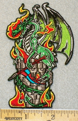1451 N - Dragon With Castle -  Flaming Fire Breath - Embroidery Patch