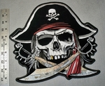 1749 G -Pirate Skullman With Pirate Hat And 2 Cross Swords - Xlarge Patch - Embroidery Patch