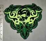 1748 L - Skull Enclosed In Celtic Heart - Large Patch - Embroidery Patch
