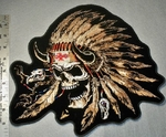 1794 G - Indian Skull Face With Feather Headband - Back Patch - Embroidery Patch