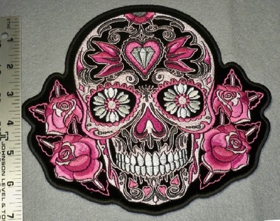 1798 G - Pink Sugar Skull With Diamonds and Flowers - Back Patch - Embroidery Patch