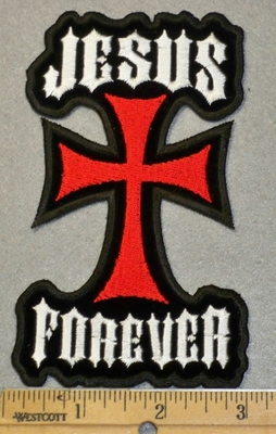 2017 W -Jesus Forever With Chopper Like Cross - Embroidery Patch