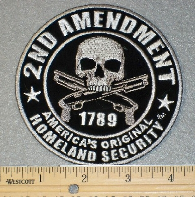 1775 G - 2nd Amendment Skull With 2 Guns - Embroidery Patch