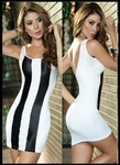Black and White Spandex -  Bike Rally/ Club  Wear Dress