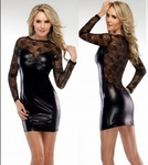 Black Liquid Spandex With Longsleeve Lacy Top - Bike Rally / Club  Wear Dress