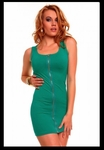 Green Front Zipper - Bike Rally / Club  Wear Dress