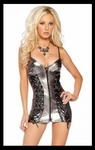 Metallic Silver And Black Zipper Front - Bike Rally / Club Wear Dress