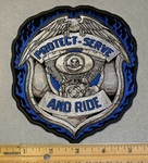 2033 G - Protect - Serve - And Ride Police Badge - Embroidery Patch