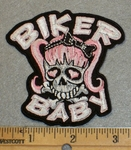 2026 G - Biker Baby Skull Face With Pig Tails - Embroidery Patch