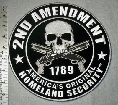 1774 G - 2nd Amendment  Skull Face with 2 Guns - Large Back Patch -  Embroidery PAtch
