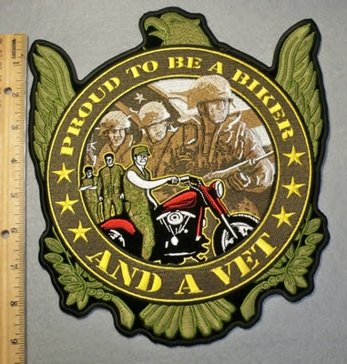 2035 G - Proud To Be A Biker And A Vet - Large Back Patch - Embroidery Patch