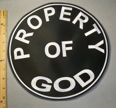 2031 L - Property Of God - Large Round Patch - Embroidery Patch