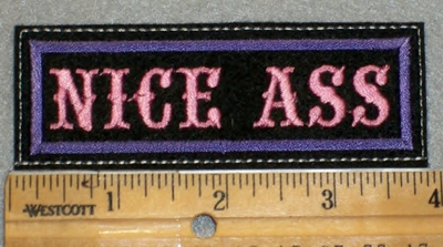 1928 L - Nice Ass - Purple Border - Pink Lettering - Embroidery Patch