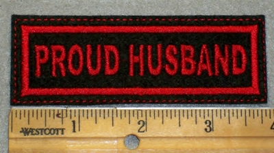 1973 L - Proud Husband - Red Border - Embroidery Patch