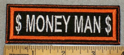 1970 L - $ Money Man $ - Orange Border - Embroidery Patch