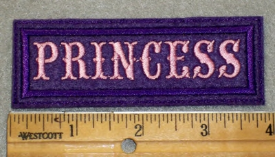 1976 L - Princess - Purple Border - Pink Lettering - Embroidery Patch