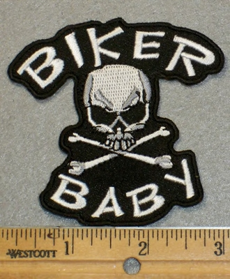 2004 G - Biker Baby With Skull Face And Cross Bones - Embroidery Patch