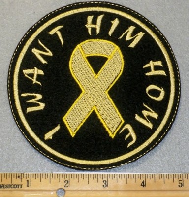 1936 L - I Want Him Home With Yellow Ribbon - Round Patch - Embroidery Patch