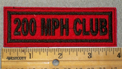 1442 L - 200 MPH Club - Black Lettering - Red Background - Embroidery Patch
