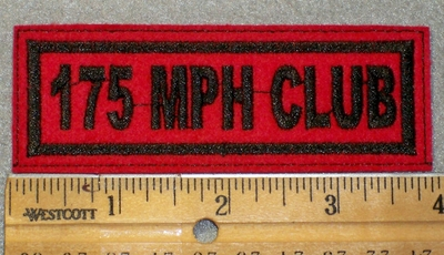 1441 L - 175 MPH Club - Black Lettering - Red Background - Embroidery Patch