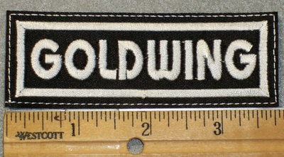 1454 L - Goldwing - White Lettering - Embroidery Patch