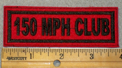 1440 L - 150 MPH Club - Black Lettering - Red Backgorund - Embroidery Patch