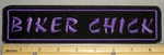 2032 L - Biker Chick - Purple -  8 Inch Straight Patch - Embroidery Patch