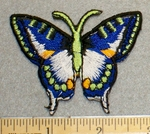 2042 C - Blue And White Butterfly - Embroidery Patch