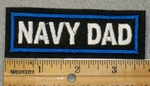 1465 L - Navy Dad - White Lettering - Blue Border - Embroidery Patch