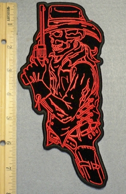 2180 N - Cowboy Hat Skull Man Side Profile With Gun - Left Side - Embroidery Patch
