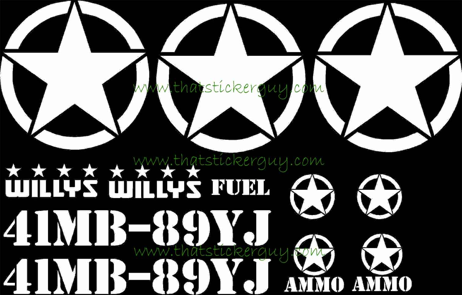 army jeep 12 pc sticker kit Willys Army Jeep army jeep kit 12pc 0003