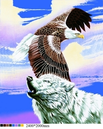 [Wolf with  Eagle] Plush Raschel Blanket (79 by 95  inches )