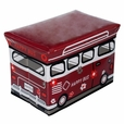[Happy Bus - Red] Rectangle Foldable Faux Leather Storage Ottoman / Storage Boxes / Storage Seat