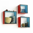 Trista - [Gloss Red] Square Leather Wall Shelf / Bookshelf / Floating Shelf (Set of 3)