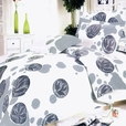 [White Gray Marbles] 100% Cotton 4PC Comforter Set (Twin Size)