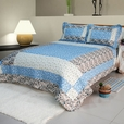 [Midsummer Dream] Cotton 3PC Floral Vermicelli-Quilted Patchwork Quilt Set (King Size)
