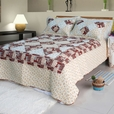 [Fantasy Flowers] Cotton 3PC Floral Vermicelli-Quilted Patchwork Quilt Set (King Size)