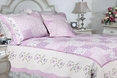 [Love of Lilac] 100% Cotton 3PC Floral Vermicelli-Quilted Embroidered Patchwork Quilt Set (King Size)