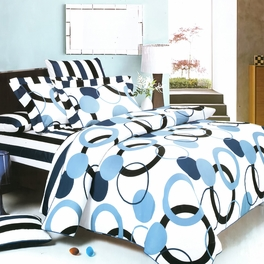 [Artistic Blue] Luxury 4PC Mini Comforter Set Combo 300GSM (King Size)