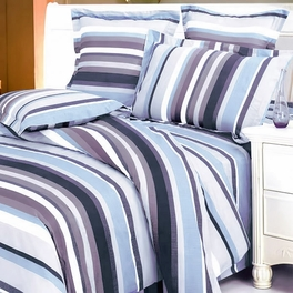 [Blue Purple Stripes] 100% Cotton 4PC Duvet Cover Set (Queen Size)