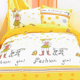 [Fashion Girl(Serene City)] 100% Cotton 4PC Duvet Cover Set (Full Size)