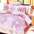 [Misty Roses] 100% Cotton 4PC Comforter Set (Twin Size)